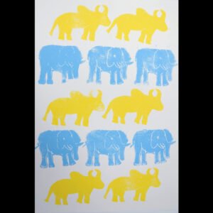 Elephants And Cows Screen Prints